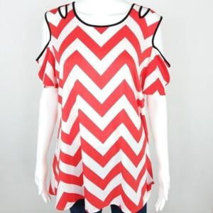 NWT NY Collection Chevron Blouse Cold Shoulder -38